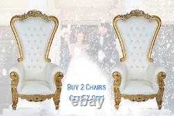New Gold White 6ft King Queen Throne Président Diamond Tufted Wedding Banquet Party