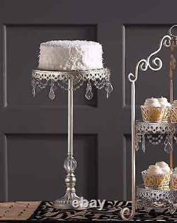 Tall Display Shabby Crystal Prisms Français Cupcake Wedding Large Cake Stand