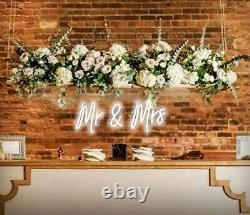 White Mr. & Mrs. Neon Sign Wedding Clear Acrylic Backed Hanging Or Mounted Décor